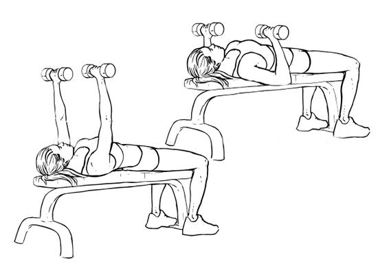 Избутване на дъмбели от лег